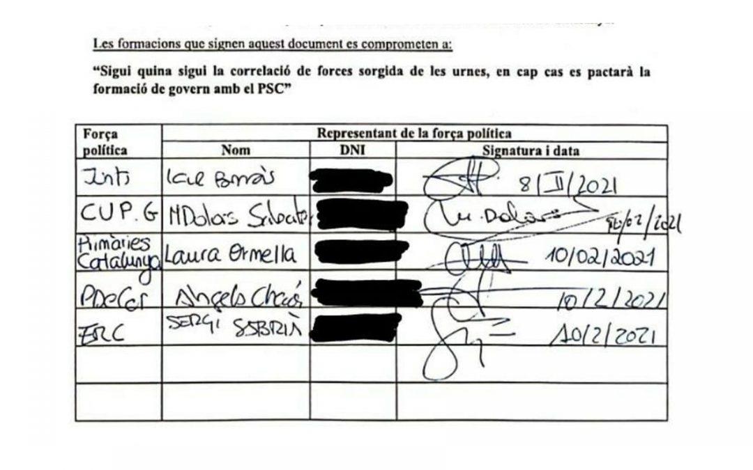 Signatures no pacte PSC