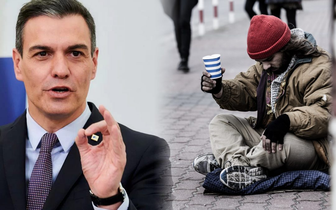 Pobresa gent demanant diners-Pedro Sanchez