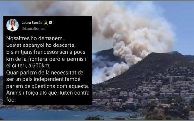 El Gobierno espanyol rebutja demanar hidroavions a França amb la certesa que els partits processistes no el faran caure El foc al Cap de Creus ha cremat més de 400 hectàrees, ha ferit fins ara 5 persones i  n'ha obligat a desallotjar centenars
