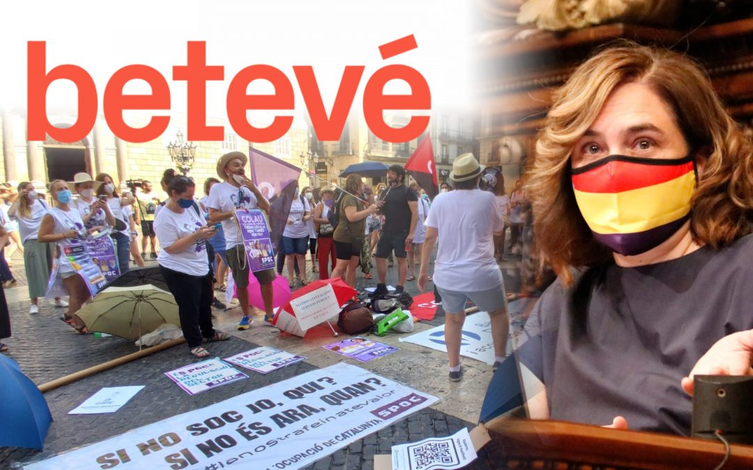 Protestes Barcelona activa a Sant Jaume-Colau amb mascareta republicana-Beteve