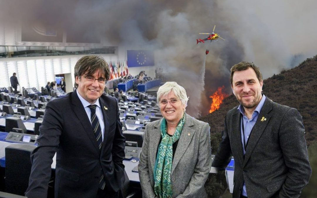 Puigdemont-Comin-Ponsati-incendi llança