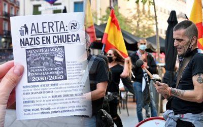 Exhibir públicament el nazisme costa 600 euros a Espanya És la sanció que ha imposat el govern als manifestants ultres de Chueca, alguns dels quals portaven armes blanques