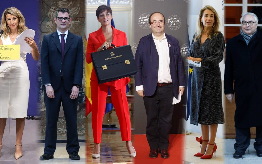 Yolanda Díaz-Félix Bolaños-Isabel Rodríguez-Miquel Iceta-Raquel Sánchez-Manuel Castells