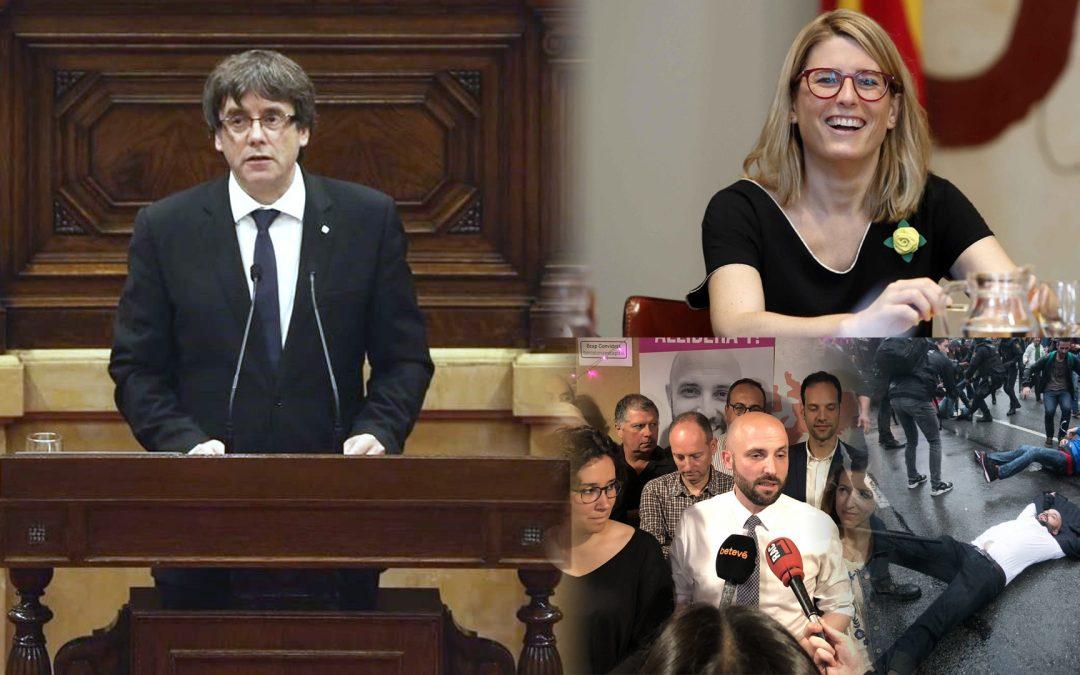 Quart aniversari de la falsa Declaració d'Independència del 10 d'octubre del 2017 El president Puigdemont, que no podia declarar la independència sense votar primer, ens va deixar somiar 8 segons